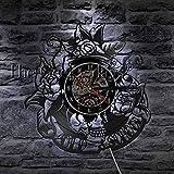 fdgdfgd De Pared de Vinilo de Disco de Vinilo de Tatuaje de Flor de cráneo de Reloj de diseño Reloj de Regalo de Art Deco   Regalo Hecho a Mano conmemorativo de cumpleaños