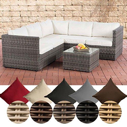 CLP Lounge-Set Liberi 5mm | Polyrattan-Möbelgarnitur | Gartenmöbel-Set mit einem 2er Sofa, einem 3er Sofa und einem Beistelltisch erhältlich Grau Meliert, cremeweiß