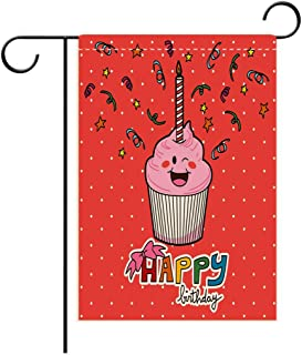 Double Sided Flag Garden Flag Holiday Decoration Birthday Decorations Pink Strawberry Cupcake with Candle Cute Face Confetti Bow Tie Dots Garden Flags Perfect For Party Yard, Patio, Porch or Veranda