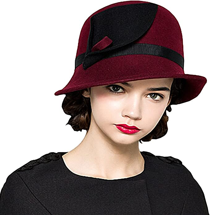 1920s Hat Styles for Women – History Beyond the Cloche Hat Maitose Womens Wool Felt Flowers Church Bowler Hats  AT vintagedancer.com