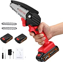 APROTII Mini Chainsaw with 2 Battery, 4-Inch Cordless Electric Portable Chain Saw with Rechargeable Battery One-Handed Por...