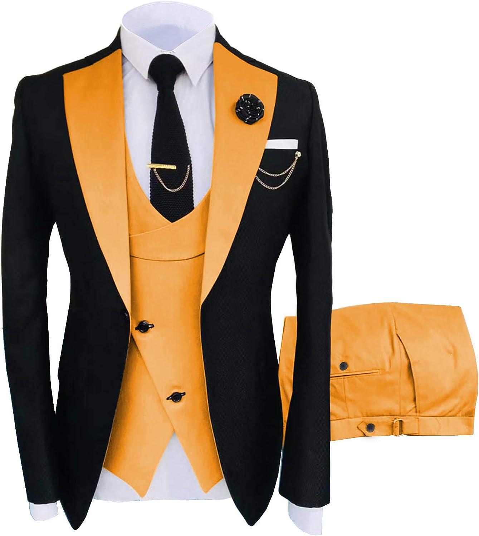 ANSHUHA Mens Suit 3 Pieces Formal Fashion Solid Flat Color Tuxedos Jacket Wedding Groom (Blazer+Vest+Pants)