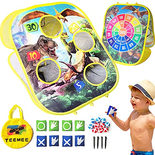 TEEMEE Bean Bag Toss Game, Portable Beach Toys with 8 Bean Bags & 10 Sticky Balls, Cornhole & Dart Board 3 in 1 Outdoor Toys for Kids Ages 4-8, Beach Games for Family Party
