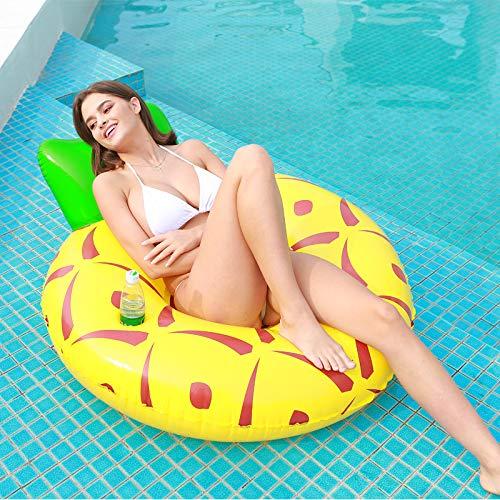 Cozywind Cama Flotante Inflable Posavasos para flotadores, Cama de Playa Flotante de 120 cm, Juguetes inflables para Piscina para Adultos fáciles de inflar (Piña)