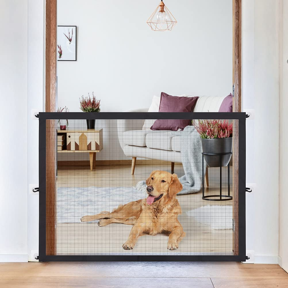 EXPAWLORER Magic Dog Gate for Pets - Folding Portable Designed Mesh Gate Safety Gate for Dogs Indoor Using 30