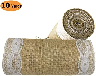"stylish14 Burlap Table Runner-12"" Wide x 10 Yards Long Burlap Lace Roll, Rustic Natural Burlap Fabric Lace Roll with Finished Edges Wedding Party Dining Home Decor Hessian Lace Roll Table Runner 390"