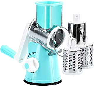 Rotary Cheese Grater Slicer - Round Mandoline Drum Slicer Manual Vegetable Slicer with a Stainless Steel Peeler (Blue)