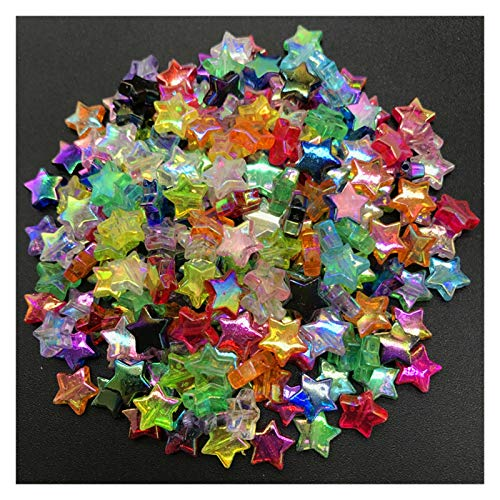 DIOXQEN DIY production 300pcs 11x4mm Acrylic Spacer Beads Five-pointed Star Transparent Rainbow Color Beads For Jewelry Making for Jewellery Making Arts and Crafts (Color : J)