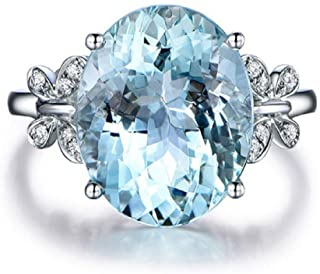 Wenbin Fashion Lady Natural Stone Topaz Ring Blue Topaz Bow Ring 925 Sterling Silver Oval Gemstone Ring Engagement Ring We...
