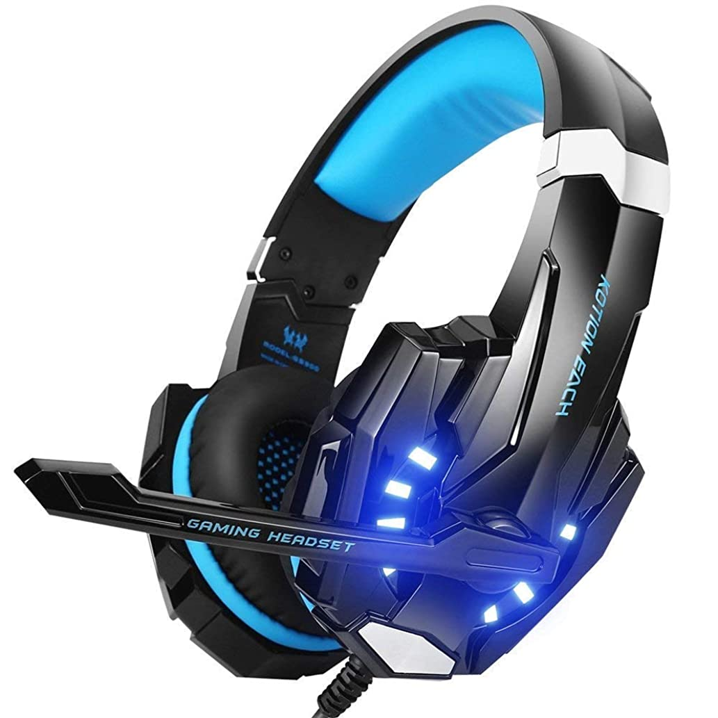 G9000 Stereo Gaming Headset for PS4, PC, Xbox One Controller, Noise Cancelling Over Ear Headphones with Mic, LED Light, Bass Surround, Soft Memory Earmuffs for Laptop Mac Nintendo Switch Games (Blue)