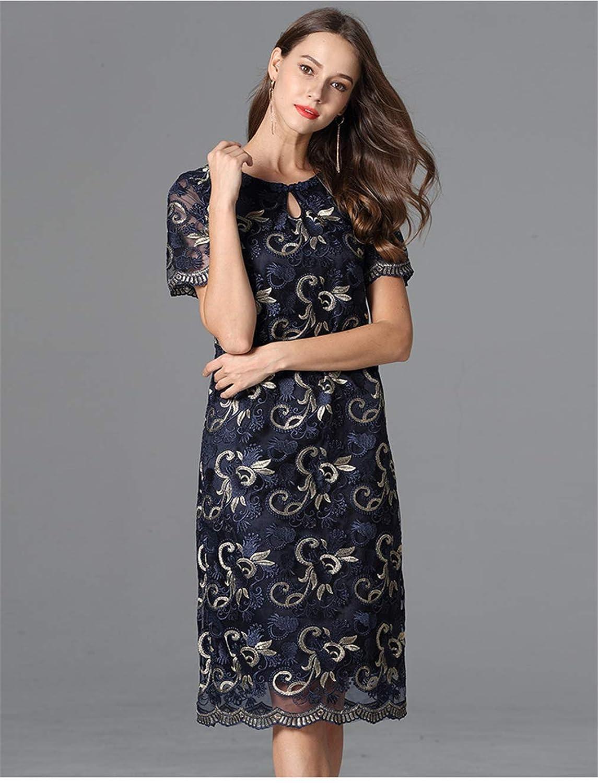 ドレス 女性たち プラスサイズ 刺繍 膝丈 丸首 女の子 五分袖 エレガント カクテル ウエア(L-5XL)
