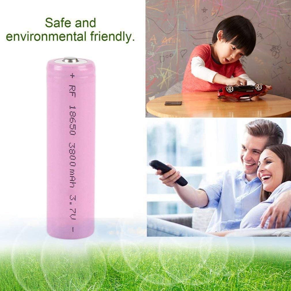 2 PCS Gadgets electr/ónicos Rosa 18650 Bater/ía de litio recargable 3.7V 3800mah Reemplazo ambiental de alta capacidad Accesorios seguros para linterna LED etc 2 //4piezas antorcha y faro