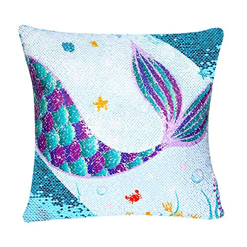 WERNNSAI Sequins Mermaid Pillow Cases - 16 x 16 Inch Blue Mermaid Decorative Cushion Covers Birthday Xmas Gift Throw Pillow Covers for Sofa Chair Bed Car(NO Pillow Inserts)