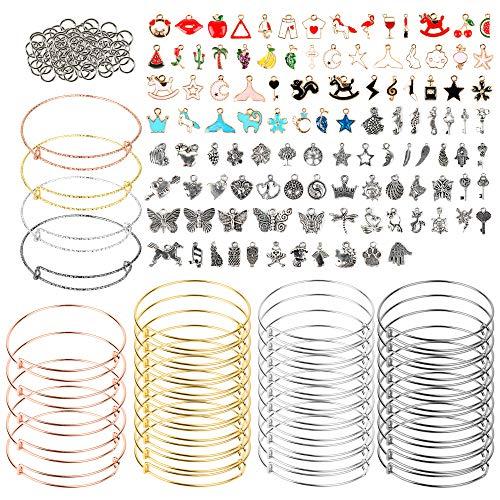 189 piezas DIY Kit de fabricación de pulseras colgantes con brazalete expandible, colgantes de dijes, pulseras de alambre ajustables para hacer joyas artesanales