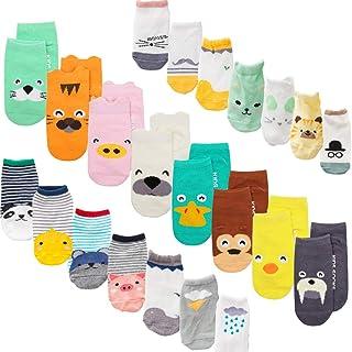 XM-Amigo calcetines de bebé, 22 pares/juego, impresión de animales, calcetines con empuñaduras antideslizantes para bebé n...