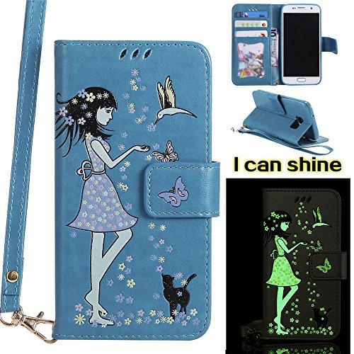 Ooboom Samsung Galaxy S7 Edge Funda Noctilucente Niña Gato Patrón Flip Wallet Case Cover Carcasa Piel PU Billetera Soporte con Porta Tarjeta Correa de Muñeca - Azul