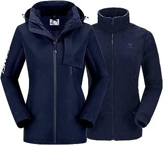 Waterproof Winter Jacket Women 3 in 1 Ski Jacket Raincoat Windproof Hooded Snowboarding Jackets Coat with Warm Fleece Jacket