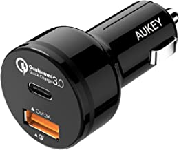 AUKEY Car Charger with 5V/3A USB C and Qualcomm Certified QC 3.0 Up to 12V 1.5A, 33W in Total Fast Charge for Google Samsung LG iPhone and More