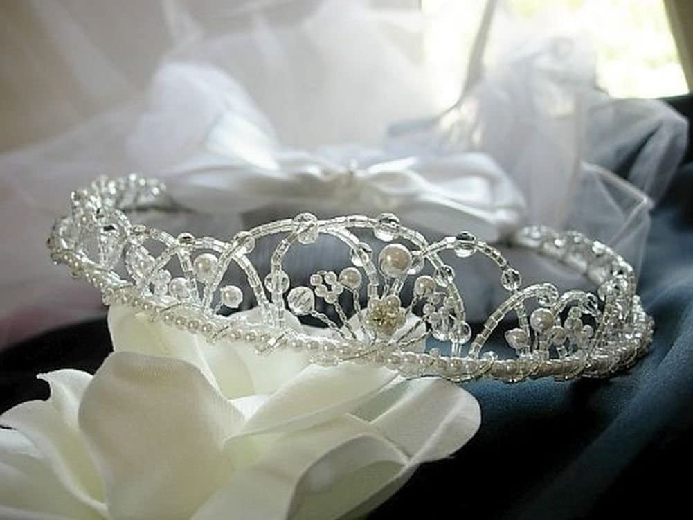 Pampered Darlings Girl's First Communion Tiara Wreath Veil Headpiece White