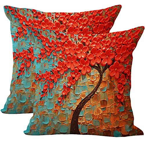 JOTOM 2 pezzi Morbido cotone lino copriletto copriletto copertura tridimensionale pittura albero fiore cuscino 45 x 45 cm (Fiore blu arancione)