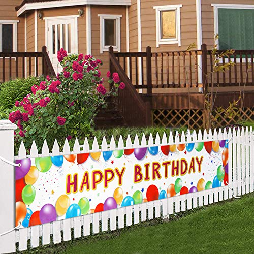 Birthday Banner Happy Birthday Signs Huge Balloon Banner Decorations Winter Spring Birthday Supplies Colorful Fence Outdoor Giant Signs Photo Prop Backdrop Outside Birthday Decortion 6 Feet