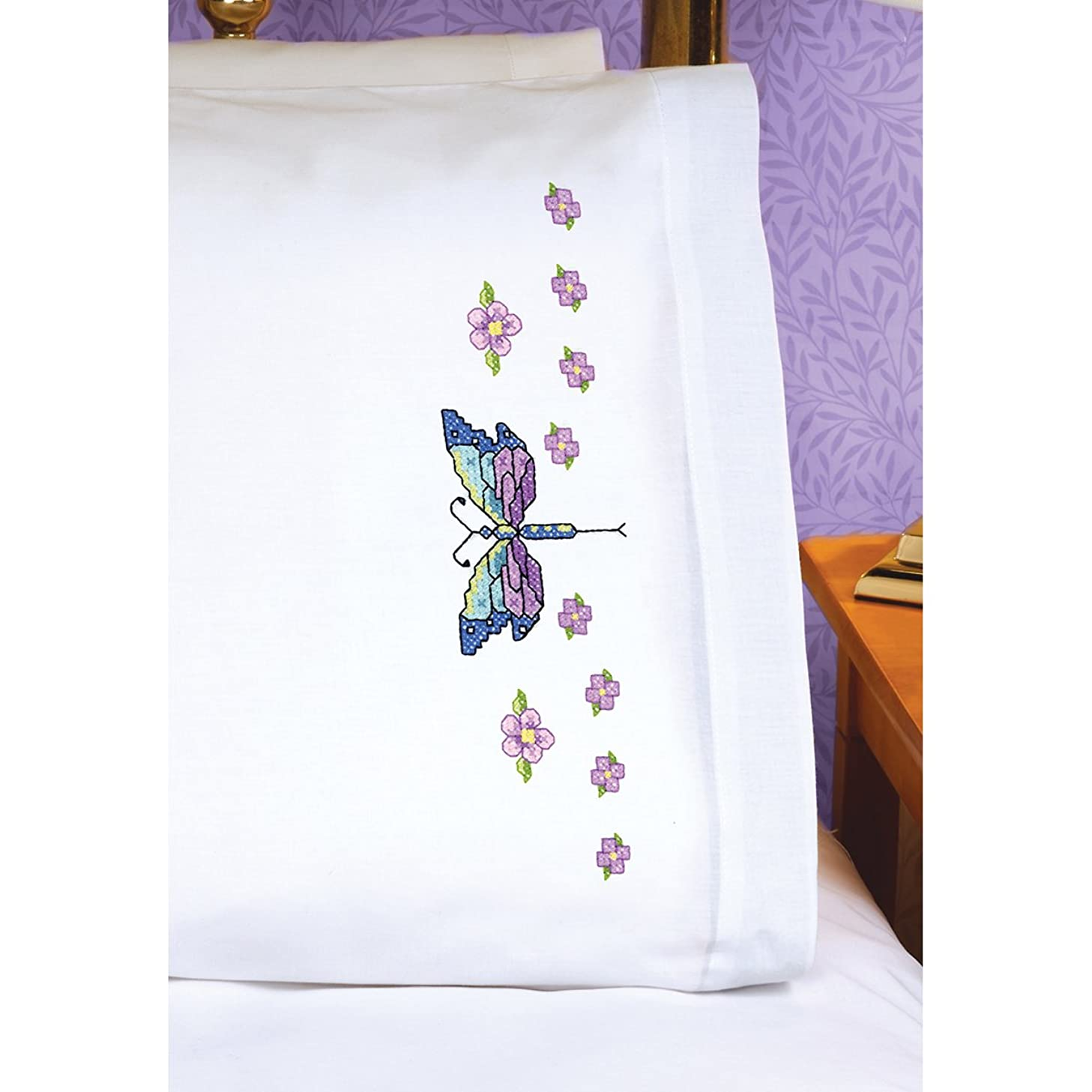 Janlynn Dragonfly Pillowcase Pair Stamped Cross Stitch, 20 by 30-Inch