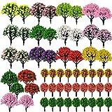 NA Woohome 60 Stück Modellbau Bäume Mixed Bäume Modellbau, Mixed Modell Bäume Bunt Modell Baum Zug Bäume Kunststoff für DIY Landschaft Gartendeko, Modelllandschaft
