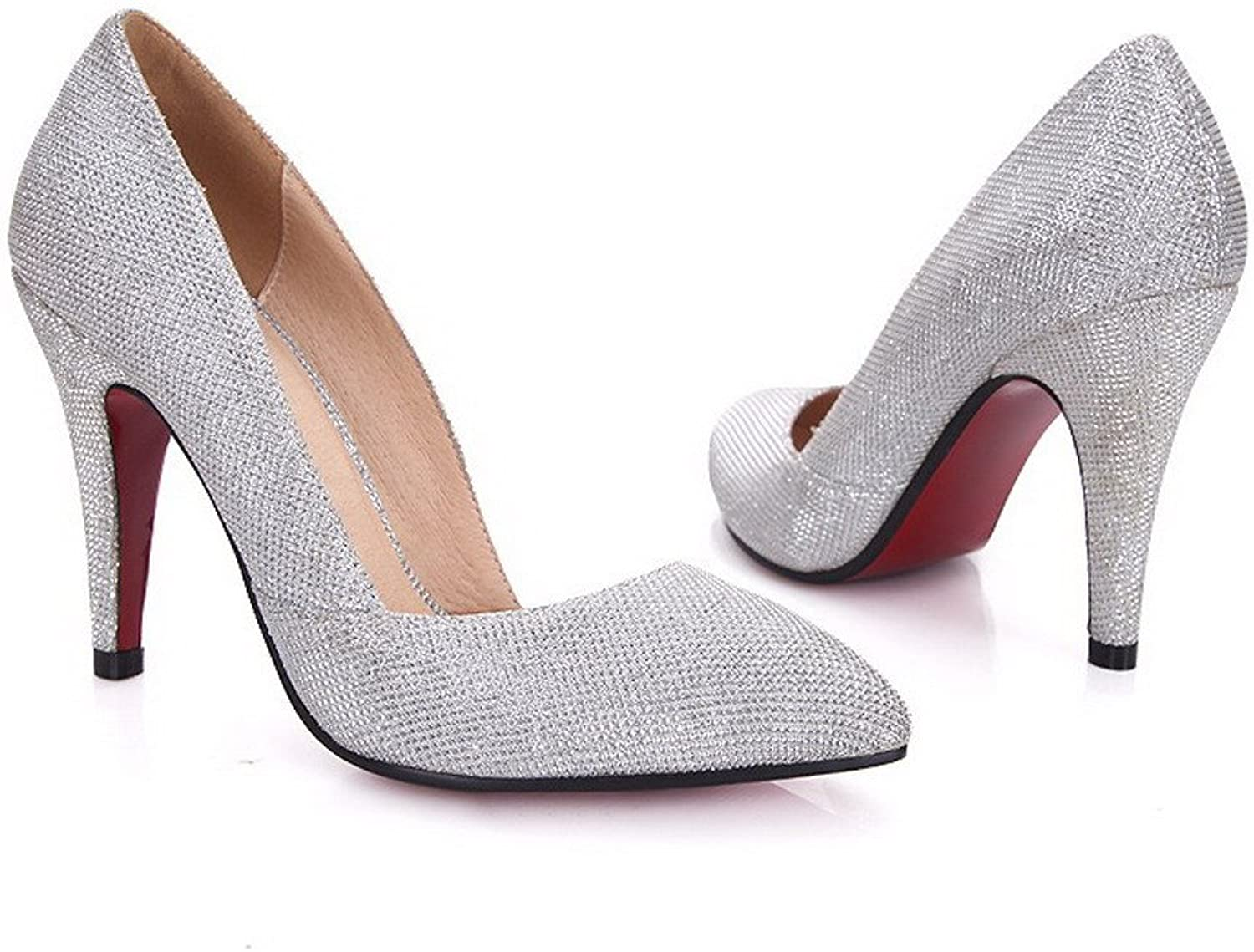 WeiPoot Womens Closed Pointed Toe High Heel PU Frosted Solid Pumps, Silver, 6.5 B(M) US