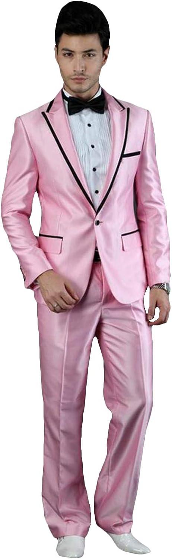 YZHEN Men's Suits 2 Pieces Peak Lapel One Button Wedding Tuxedos