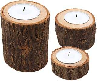 Sziqiqi Set of 3 Wood Tea Light Candle Holders, Wood bark Log Candle Holders Pillar, Handmade Natural Wooden Candlesticks Holders for Rustic Wedding Party Home Decoration, Candle Holder 5#