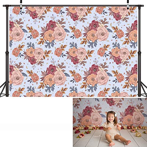 Fondo de fotografía de Retrato de bebé recién Nacido Floral Textura Abstracta Fondo de cumpleaños de Flores Estudio fotográfico A3 7x5ft / 2,1x1,5 m