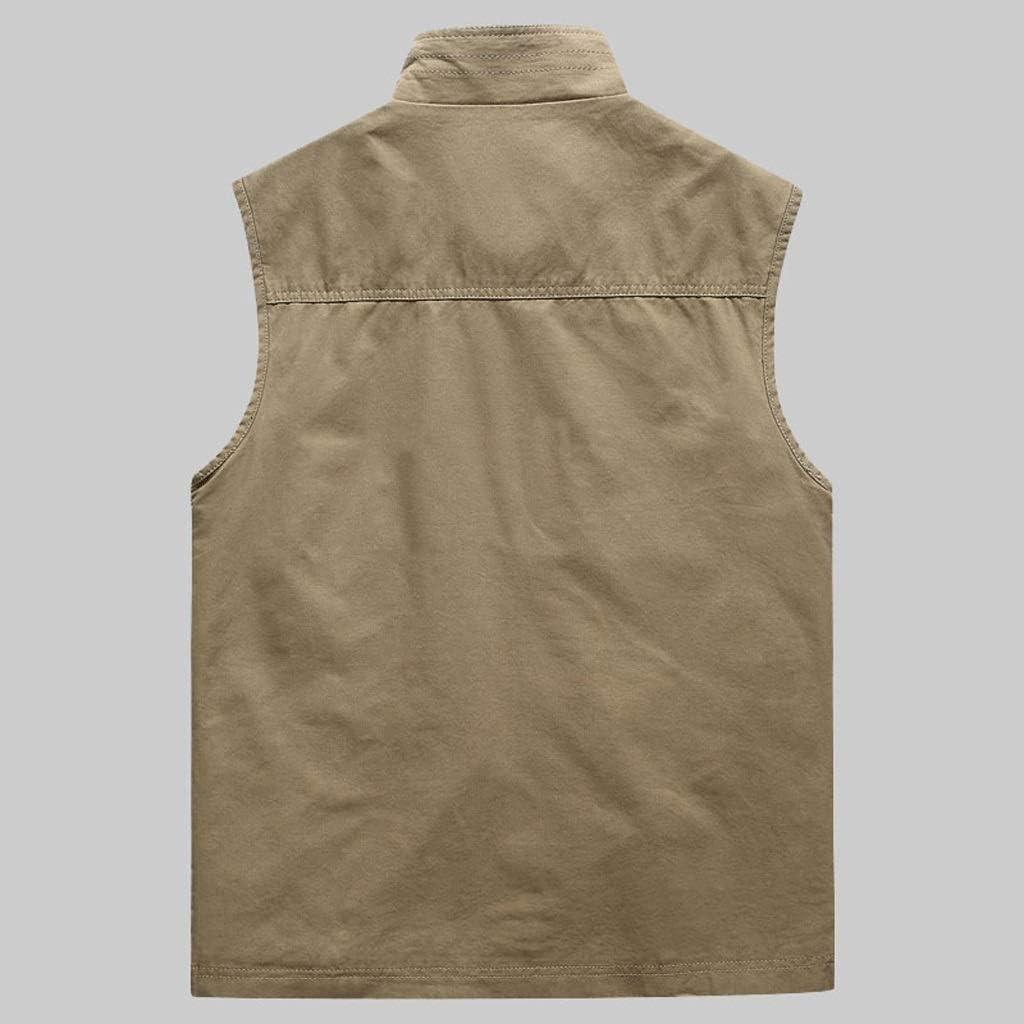 FHK Waistcoat Men's Waistcoat Pocket Vest Workwear Vest Outdoor Vest Multi-Pocket Vest Outdoor Jacket Workwear Jacket (Color : Khaki, Size : M)