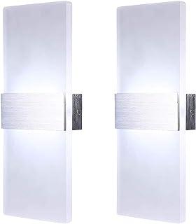 Lightsjoy 2x Apliques de Pared LED 12W Lámpara de Pared Interior Luz de Acrílico Moda Agradable Luz de Ambiente para Sala, Escalera, Pasillo, Dormitorio, Blanco frío