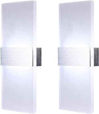 Lightsjoy 12W Applique Murale Interieur Moderne En Aluminium Luminaire Up Down Lumière éclairage Mural Lampe Décorative pour Salon Chambre Chevet Couloir Cuisine Escalier [Deux Packs]