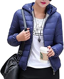 Ladies Packable Ultra Lightweight Short Down Jacket Hooded Quilted Quilted Feast Clothing Bubble Coat Warm Outerwear
