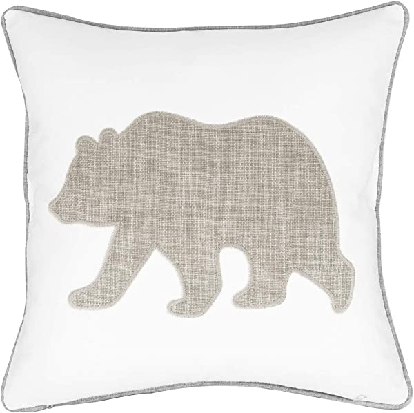 Animal Cotton Throw Pillow Covers Bear Pattren Embroidered 18x18 Inches For Couch Cushions Covers White