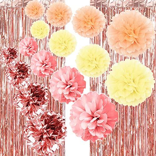 Seidenpapier Pompoms Deko Hochzeit,Seidenpapier Pompoms Blumen,Papierblumen Pompons,Hochzeit Deko Set,Laternen Wabenbälle,2 Roségold Metallic Tinsel Vorhänge (22er Set)