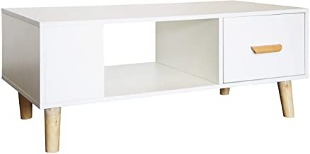 Mahmayi H302 Modern Multifunctional Coffee Table, Storage Unit with Drawers and Storage Shelf - White Melamine