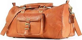 Vintage Leather Duffel Bag Overnight Bag Weekender Bag Tan Brown [ Orlando]