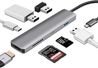 ODLICNO USB C Hub, 7-en-1 USB C Adaptador, con 4K USB C a HDMI, 100W Power Power, USB C Data Port, lector de tarjetas microSD / SD, 3 puertos USB 3.0, para MacBook Pro 2017/2018, Chromebook XPS, y más (gris)