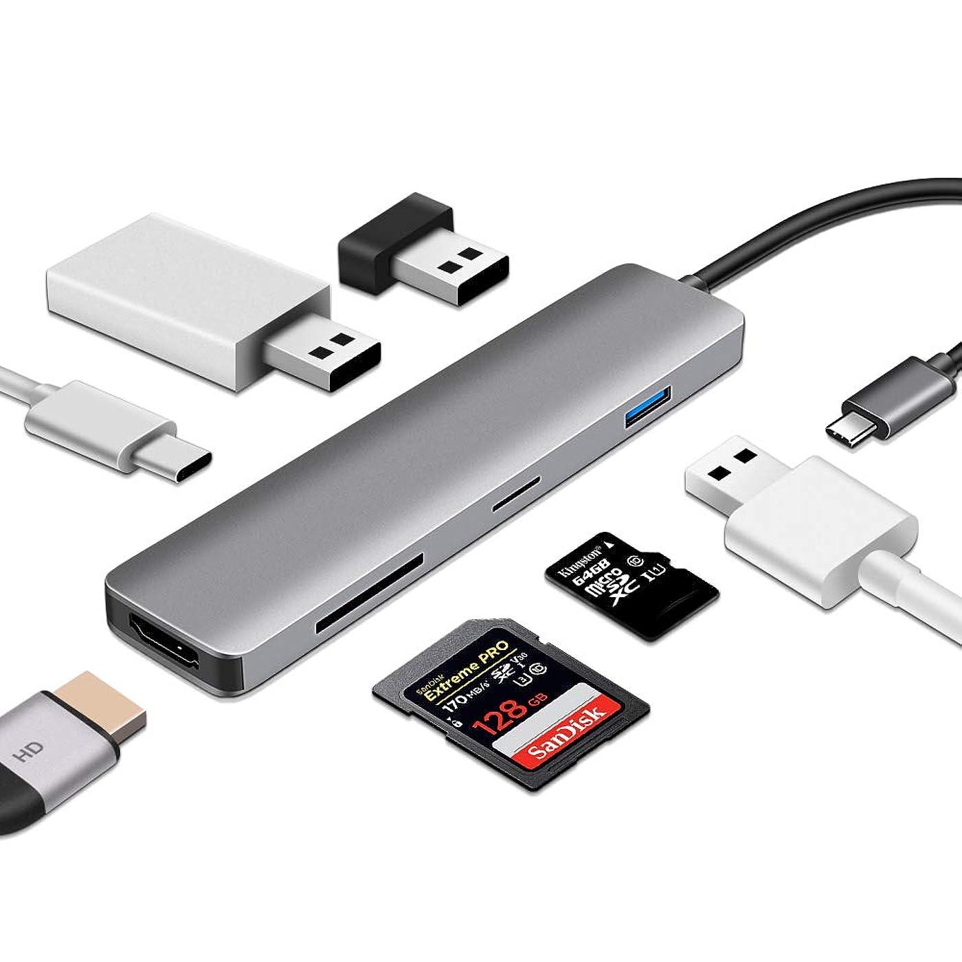 オフ相互接続とまり木ODLICNO USB C ハブ Windows/MacOS対応 Type-C ハブ 4K/HDMI×1 高速データ伝送USB3.0×3 Micro/TFSDカード マルチ 変換アダタ(7in1,type-cケーブル付き)