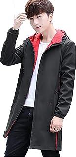 [サ二ー] メンズ トレンチコート 秋冬 長袖 ジャケット ロング丈 デザイン フード付け 大きいサイズ 切り替え カジュアル ダスターコート ブラック