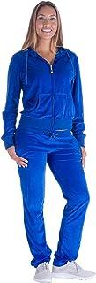 Women's 2 Pieces Sweatsuit Full Zip Velour Hoodie & Loose Long Pants Set Lounge Suits S-3XL