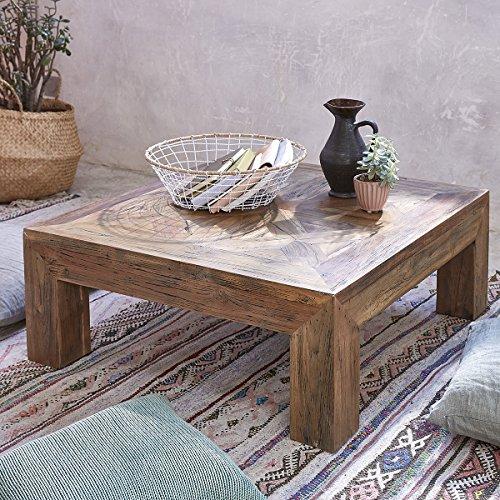 Table Basse carrée en Bois de Teck recyclé 80
