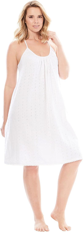 Dreams & Co. Women's Plus Size Breezy Eyelet Short Nightgown - 18/20, White