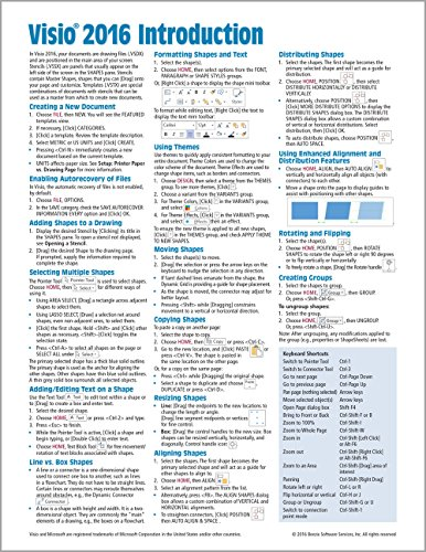 Microsoft Visio 2016 Introduction Quick Reference Guide - Windows Version (Cheat Sheet of Instructio
