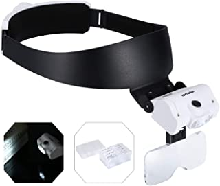 YOCTOSUN Headband Magnifier with 2 LED Lights and 5 Detachable Lenses 1X,1.5X,2X,2.5X,3.5X –Hands-Free Head Worn Lighted Magnifying Glasses for Close Work, Jewelry Work, Watch Repair, Arts & Crafts
