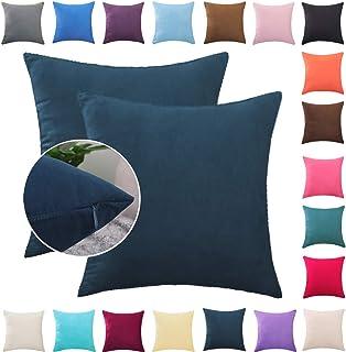Donbest Fundas de Cojines 2 Piezas Terciopelo Funda de Almohada Color Sólido del Sofá Cama Coche Throw Cojín Decoración Almohada Caso de la Cubierta Decorativopara Sala de Estar Azul Oscuro 40x60 cm