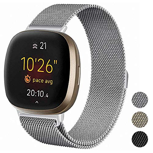 Metal Mesh Stainless Steel Magnetic Wrist Band Compatible with Fitbit Versa 3 and Fitbit Sense Fitness Trackers for Men and Women.(Silver)