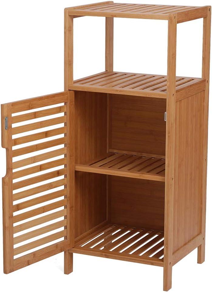 Very popular HaoJuhome 100% Bamboo Bathroom Latest item Floor Shelf Cabinet Double Deck